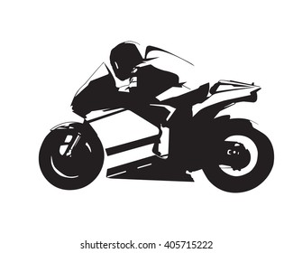 Motorcycle vector illustration, abstract isolated road motorbike silhouette, side view
