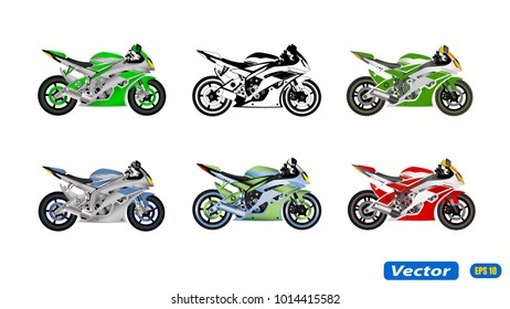 motorcycle in vector isolated on white background