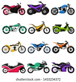 Motorcycle vector motorbike and motoring cycle ride transport chopper illustration motorcycling set of scooter motor bike isolated on white background