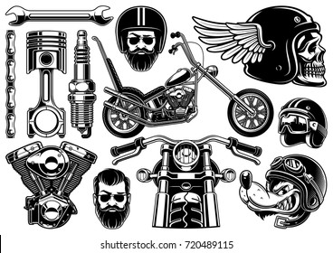 Motorcycle vector set with monochrome vintage elements , isolated. (VERSION ON  WHITE BACKGROUND)