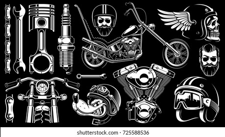 Motorcycle vector set with monochrome vintage elements. (VERSION FOR DARK BACKGROUND)