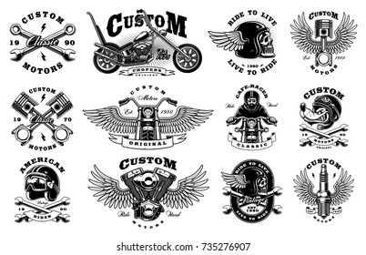 Motorcycle vector set with vintage custom logos, badges, design templates. All elements, text are on the separate layer. (VERSION FOR WHITE BACKGROUND)
