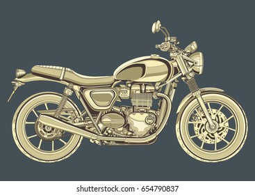 Motorcycle vector, vintage drawing. Yellow motorbike half-face with many details on a gray blue background