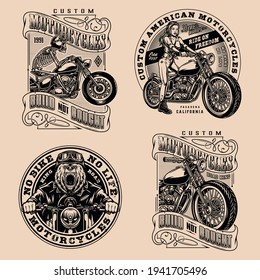 Motorcycle vintage designs composition with skeleton angry bear pretty girl bikers and custom motorbike emblems and badges in monochrome style isolated vector illustration