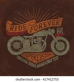 Motorcycle. Vintage motorcycle label. motorcycle typography t-shirt printing design.