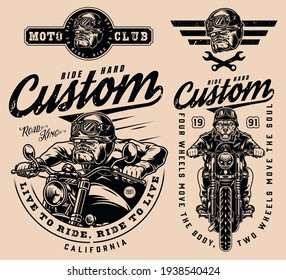Motorcycle vintage monochrome emblems with inscriptions crossed wrenches angry bulldog bikers and serious dog heads in moto helmets and goggles isolated vector illustration