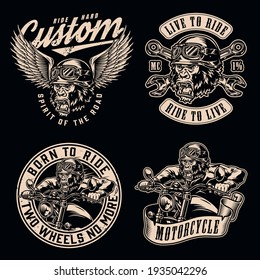 Motorcycle vintage monochrome emblems with letterings crossed wrenches gorilla biker riding motorbike and gorilla head in goggles and winged moto helmet isolated vector illustration