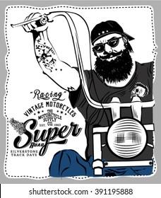 Motorcycle vintage racing typography, t-shirt graphics, vectors