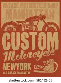 motorcycle . vintage motorcycle. typography t-shirt printing.