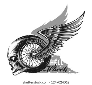 Motorcycle wheel with wings and skull