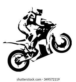 Motorcycle wheelie, motorbike champion celebrates