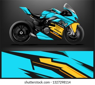 Motorcycle wrap design. ready print concept for vinyl wrap and motorcycle decal - Vector