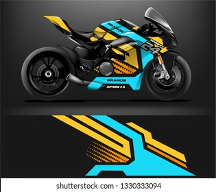 Motorcycle wrap design. ready print concept for vinyl wrap and motorcycle decal