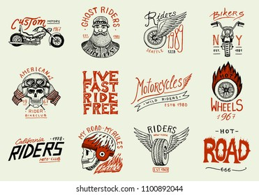 Motorcycles and biker club logos templates. Vintage custom skulls emblems, labels badges for t shirt. Monochrome retro style. Classic sport motorbike with racing gasoline. Hand drawn engraved sketch