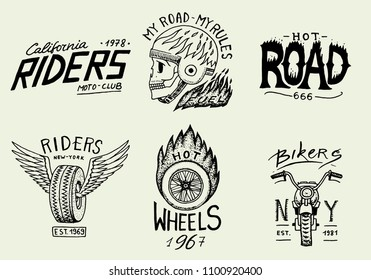 Motorcycles and biker club logos templates. Vintage custom skull emblems, labels badges for t shirt. Monochrome retro style. Classic racing sport motorbike. vector elements. Hand drawn engraved sketch