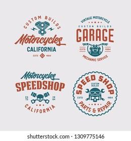 Motorcycles california t-shirt design set. Line art style motor engine skull wrench icon symbol. Vector vintage illustration.