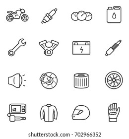 Motorcycles, collection of icons in a linear style. Details and attributes for riding a motorcycle. Line with editable stroke.