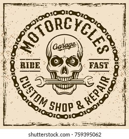 Motorcycles custom shop vintage emblem, label, stamp or print on background with grunge textures and frame vector illustration