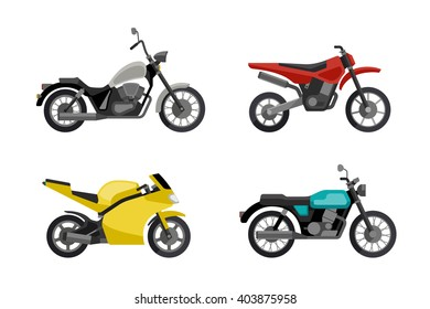 Motorcycles in flat style. Vector illustrations of different type motorcycles. Motorcycle icons set.