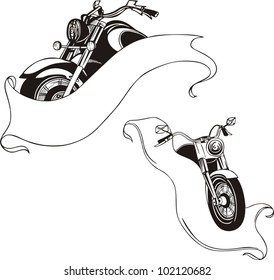 Motorcycles with ribbons. Vector set.