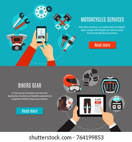 Motorcycles services and bikers gear app horizontal banners with people hands holding smartphone and pad flat vector illustration