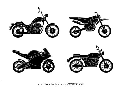 Motorcycles set. Vector silhouettes of different type motorcycles.
