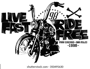 Motorcycles and typography. Stamp effect.Printing for clothing