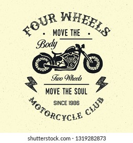 Motorcycles typography. Textured vintage vector t-shirt and apparel design, print, logo, poster. Vector