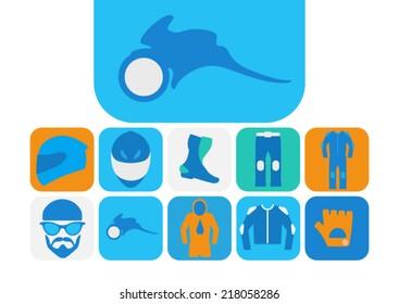 Motorcyclist equipment. Icons set.