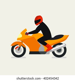 Motorcyclist on a motorcycle vector illustration.