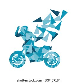 Motorcyclist performed extreme stunts driver vector abstract background illustration made of polygon fragments isolated on white