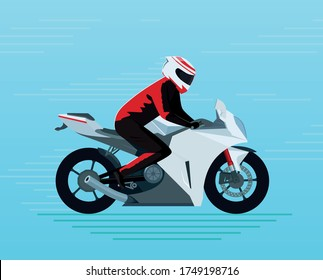 Motorcyclist In a protective suit and helmet rides a sports bike. Adventure touring vehicle with a biker on it. Blue background. Sport motorcycle flat design vector illustration. Side view.