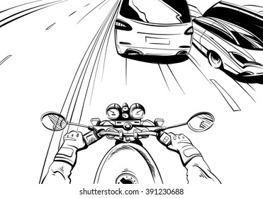 Motorcyclist riding on a motorcycle. Hand drawn comic vector illustration