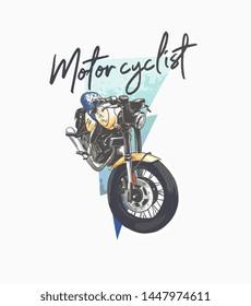 motorcyclist slogan with vintage motorcycle illustration on thunder background