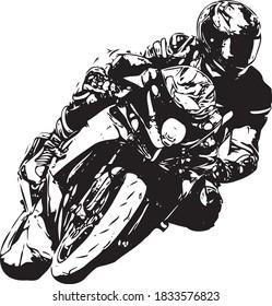 Motorcyclist at sport bike rides by empty asphalt road. sport bike. Vector - Shutterstock ID 1833576823