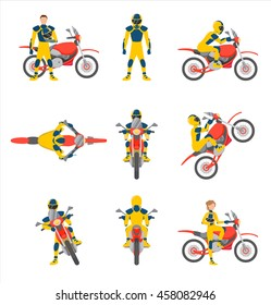 Motorcyclists on motorbikes set, vector illustration. Motorbiker in different poses. Trick doing by motorcyclist. Motocross race. Front, side, top and rear view of motorcyclist on motorbike