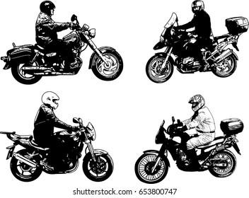 motorcyclists sketch illustration - vector