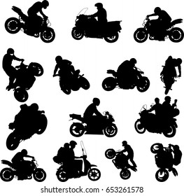 motorcylists silhouettes collection - vector