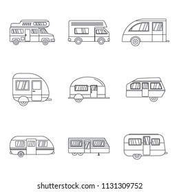 Motorhome car trailer camp house icons set. Outline illustration of 9 motorhome car trailer camp house vector icons for web