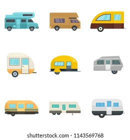 Motorhome car trailer camp house icons set. Flat illustration of 9 motorhome car trailer camp house vector icons isolated on white