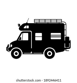 Motorhome icon. Off-road expedition camper. Black silhouette. Side view. Vector flat graphic illustration. The isolated object on a white background. Isolate.