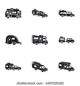 Motorhome icon set. Simple set of 9 motorhome vector icons for web design isolated on white background