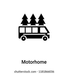 Motorhome icon vector isolated on white background, logo concept of Motorhome sign on transparent background, filled black symbol