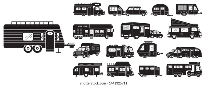 Motorhome icons set. Simple set of motorhome vector icons for web design on white background