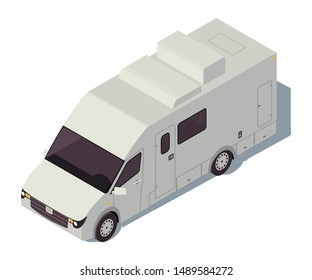 Motorhome isometric color vector illustration. City transport infographic. Car camper. Truck vehicle. Car travel. Voyage transportation. Automobile 3d concept isolated on white background