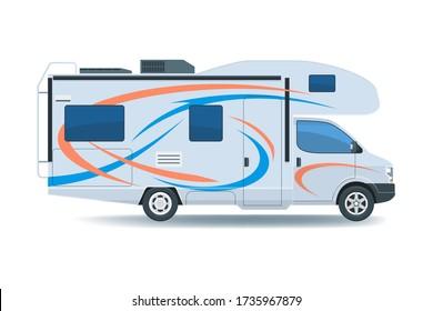 Motorhome or recreational vehicle RV camper car. Flat vector illustration