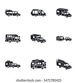 Motorhome trailer icon set. Simple set of 9 motorhome trailer vector icons for web design isolated on white background