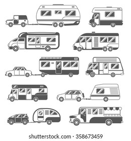 Motorhomes black white icons set with trailers and cars flat isolated vector illustration