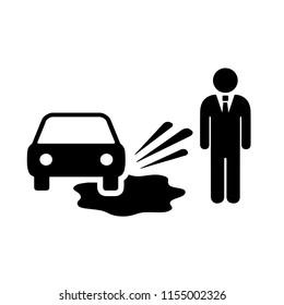 Motorist splashing pedestrians vector pictogram isolated on white background