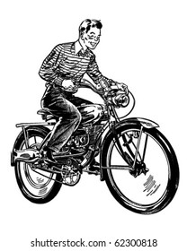 Motorized Bicycle - Retro Clipart Illustration